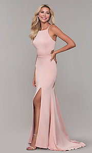 Image of long high-neck prom dress by Dave and Johnny. Style: DJ-A7535 Detail Image 3