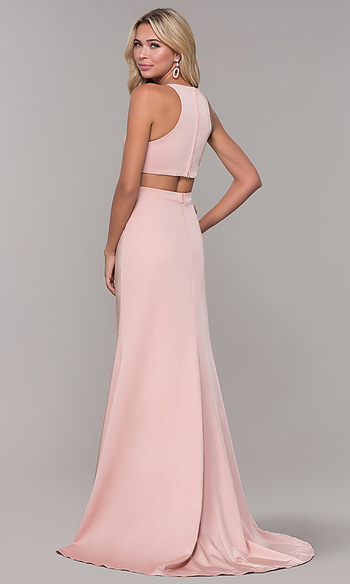 Image of long high-neck prom dress by Dave and Johnny. Style: DJ-A7535 Back Image