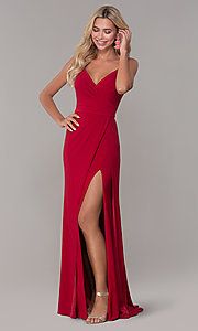 Image of long v-neck Dave and Johnny prom dress with slit. Style: DJ-A7074 Front Image