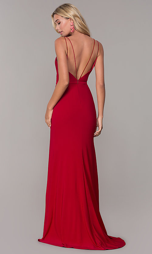 Image of long v-neck Dave and Johnny prom dress with slit. Style: DJ-A7074 Back Image