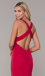 Image of long prom dress with cross-crossing back straps. Style: DJ-A7113 Detail Image 2