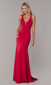 Image of long prom dress with cross-crossing back straps. Style: DJ-A7113 Detail Image 3