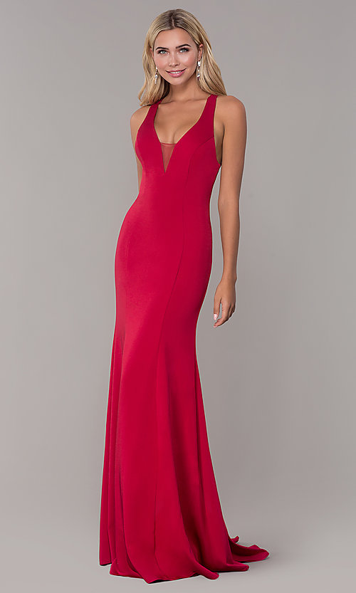 Image of long prom dress with cross-crossing back straps. Style: DJ-A7113 Front Image