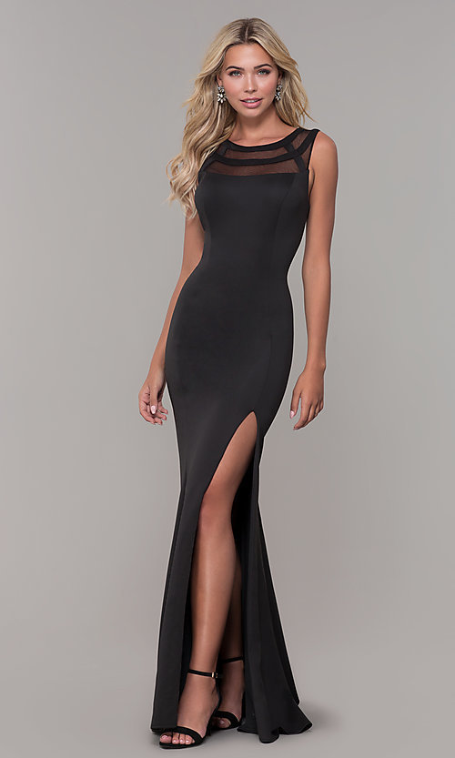 Image of long Dave and Johnny prom dress with v-back. Style: DJ-3970 Detail Image 3