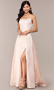 Image of long backless prom dress by Dave and Johnny. Style: DJ-A7956 Front Image