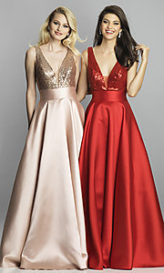 Image of Dave and Johnny long prom dress with sequin bodice. Style: DJ-A7240 Detail Image 4