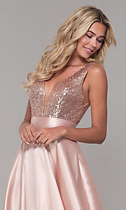 Image of Dave and Johnny long prom dress with sequin bodice. Style: DJ-A7240 Detail Image 1