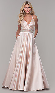 Image of Dave and Johnny pretty prom dress in blush pink. Style: DJ-A6857 Front Image