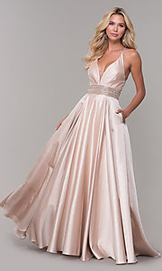Image of Dave and Johnny pretty prom dress in blush pink. Style: DJ-A6857 Detail Image 3