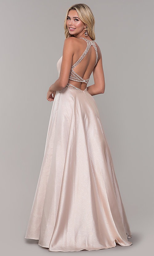 Image of Dave and Johnny pretty prom dress in blush pink. Style: DJ-A6857 Back Image