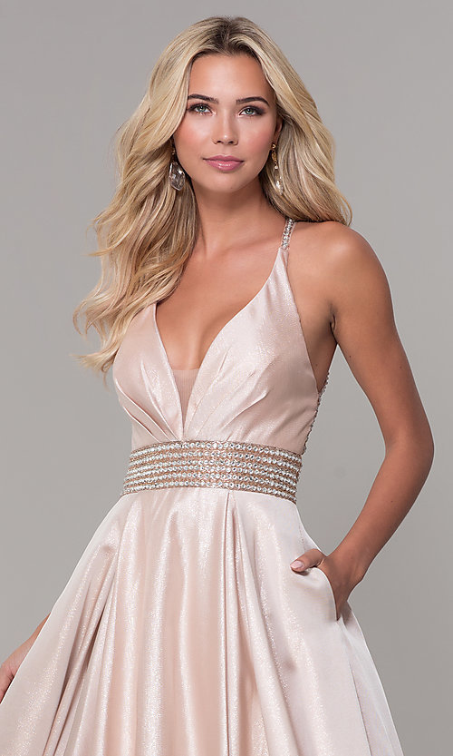 Image of Dave and Johnny pretty prom dress in blush pink. Style: DJ-A6857 Detail Image 1