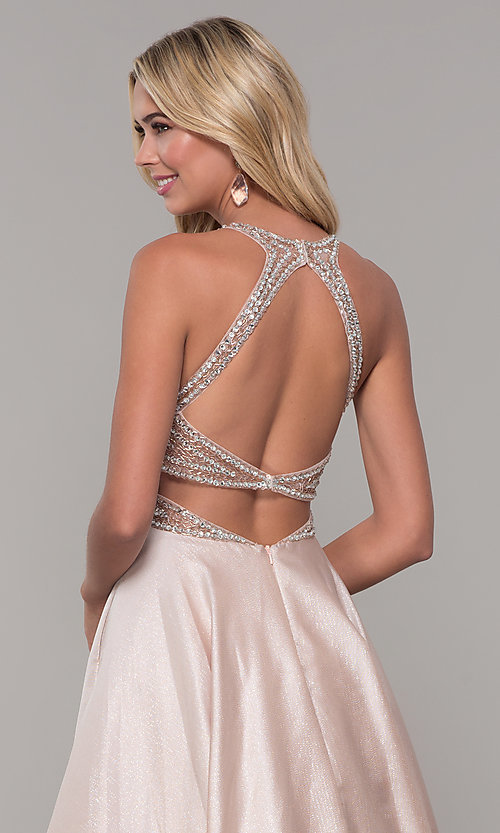 Image of Dave and Johnny pretty prom dress in blush pink. Style: DJ-A6857 Detail Image 2