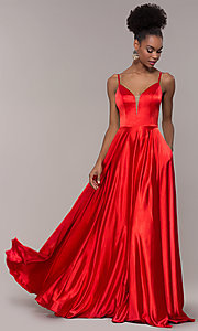 Image of strappy-caged-back long v-neck satin prom dress. Style: NA-A180 Detail Image 3