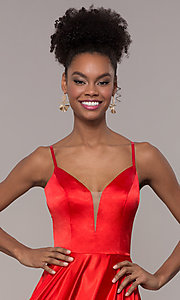Image of strappy-caged-back long v-neck satin prom dress. Style: NA-A180 Detail Image 5