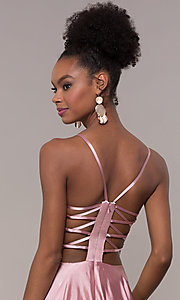 Image of strappy-caged-back long v-neck satin prom dress. Style: NA-A180 Detail Image 2