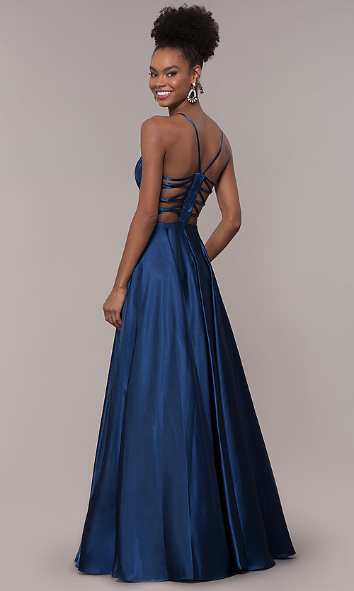 Image of strappy-caged-back long v-neck satin prom dress. Style: NA-A180 Detail Image 7