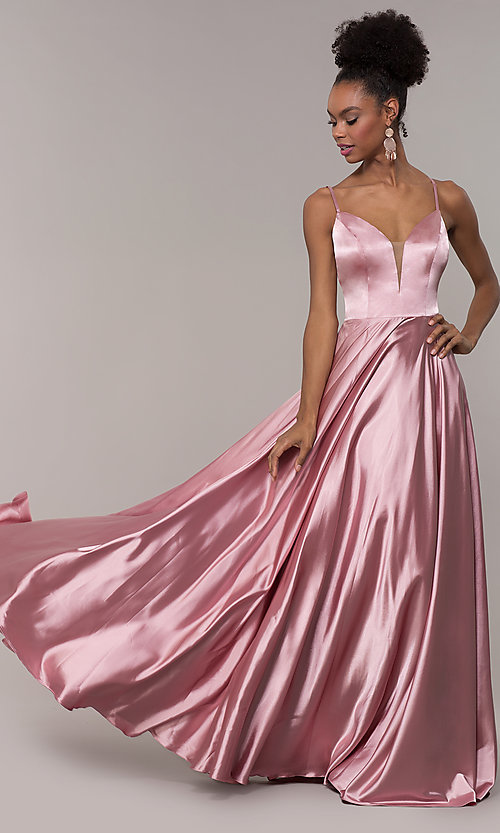Image of strappy-caged-back long v-neck satin prom dress. Style: NA-A180 Front Image