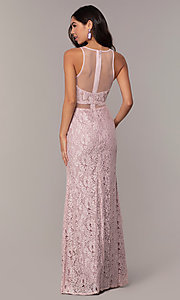 Image of long lace mauve pink illusion prom dress by PromGirl. Style: SOI-PL-D18608 Back Image
