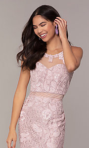 Image of long lace mauve pink illusion prom dress by PromGirl. Style: SOI-PL-D18608 Detail Image 1