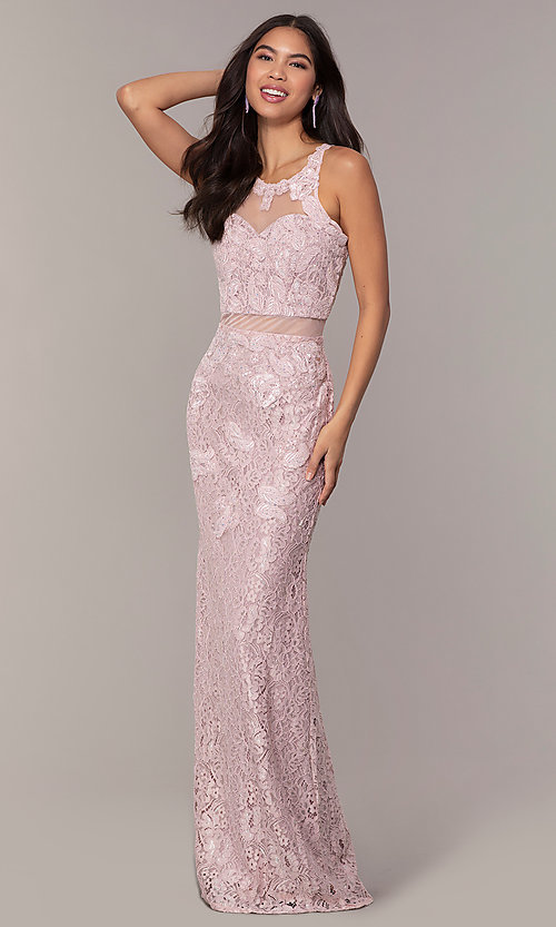 Image of long lace mauve pink illusion prom dress by PromGirl. Style: SOI-PL-D18608 Front Image