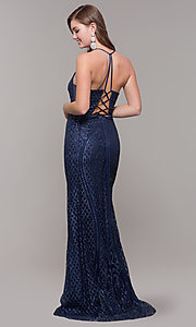 Image of long glitter and beaded v-neck prom dress. Style: JT-681 Back Image