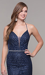Image of long glitter and beaded v-neck prom dress. Style: JT-681 Detail Image 1