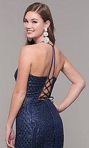 Image of long glitter and beaded v-neck prom dress. Style: JT-681 Detail Image 2