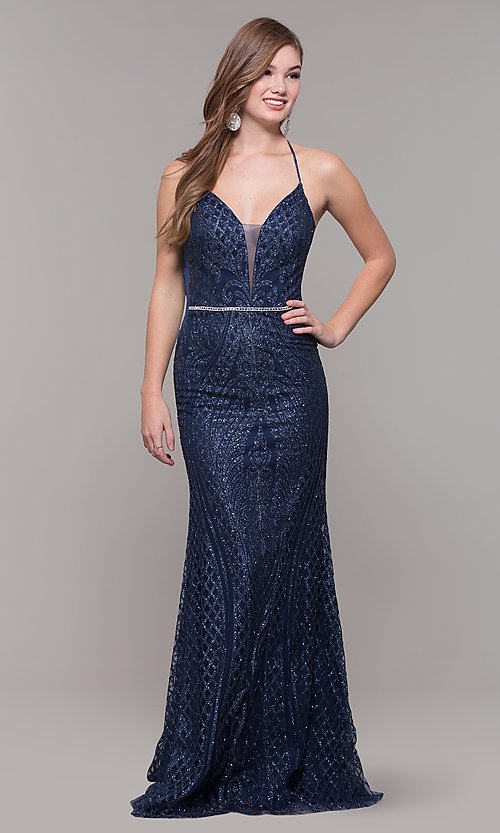 Image of long glitter and beaded v-neck prom dress. Style: JT-681 Detail Image 3