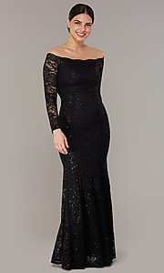Image of long sequin-lace off-the-shoulder MOB dress. Style: CL-46248 Detail Image 2