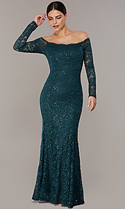 Image of long sequin-lace off-the-shoulder MOB dress. Style: CL-46248 Front Image