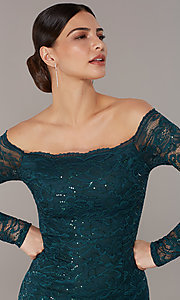 Image of long sequin-lace off-the-shoulder MOB dress. Style: CL-46248 Detail Image 1