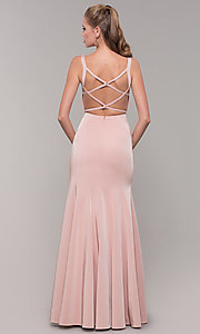 Image of long side-slit v-neck prom dress with open back. Style: TE-8035 Back Image