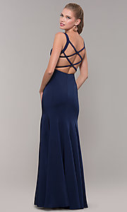 Image of long side-slit v-neck prom dress with open back. Style: TE-8035 Detail Image 5