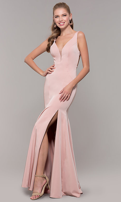 Image of long side-slit v-neck prom dress with open back. Style: TE-8035 Detail Image 3