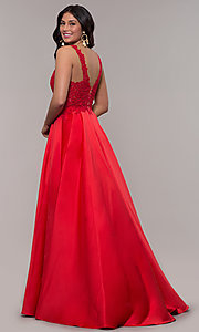Image of red long satin prom dress with embroidery. Style: FA-10251 Back Image