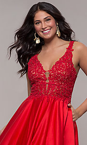 Image of red long satin prom dress with embroidery. Style: FA-10251 Detail Image 1