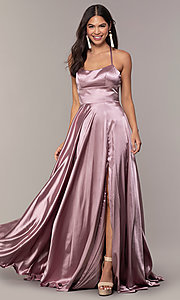 Image of satin open-back designer prom dress by Faviana. Style: FA-S10211 Detail Image 1