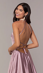 Image of satin open-back designer prom dress by Faviana. Style: FA-S10211 Detail Image 3