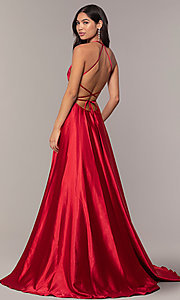 Image of satin open-back designer prom dress by Faviana. Style: FA-S10211 Detail Image 5