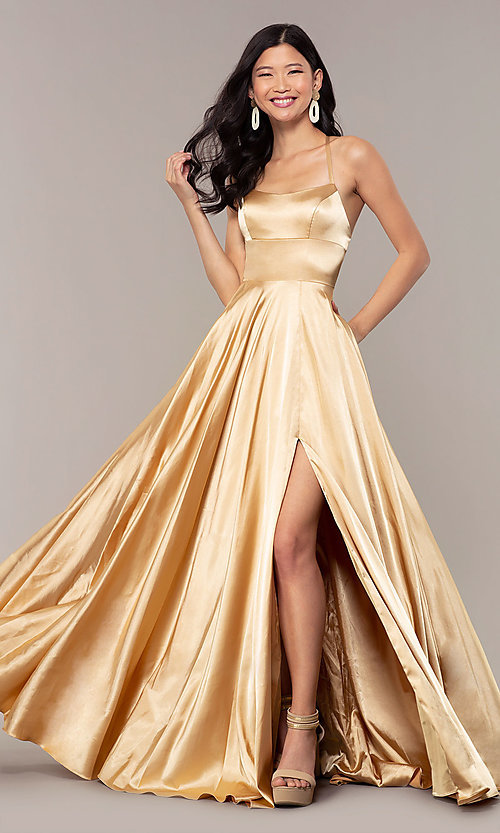 Image of satin open-back designer prom dress by Faviana. Style: FA-S10211 Front Image