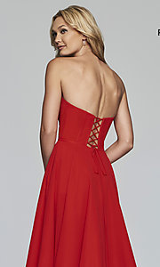 Image of strapless a-line chiffon prom dress by Faviana. Style: FA-S10232 Detail Image 2