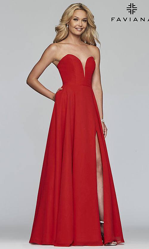 Image of strapless a-line chiffon prom dress by Faviana. Style: FA-S10232 Front Image