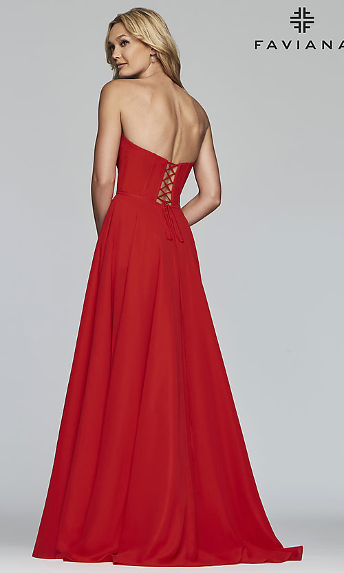 Image of strapless a-line chiffon prom dress by Faviana. Style: FA-S10232 Back Image