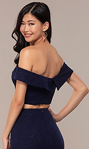 Image of two-piece long navy off-the-shoulder prom dress. Style: FA-S10262 Detail Image 2
