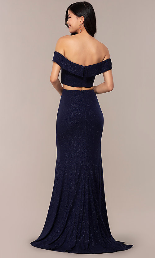 Image of two-piece long navy off-the-shoulder prom dress. Style: FA-S10262 Back Image