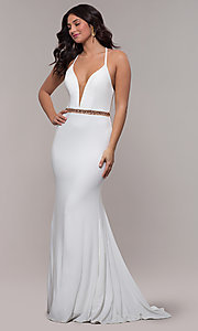 Image of long jersey v-neck prom dress with beaded waist. Style: FA-S10266 Detail Image 3