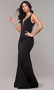 Image of open-caged-back long mermaid prom dress by Alyce. Style: AL-60280 Detail Image 3