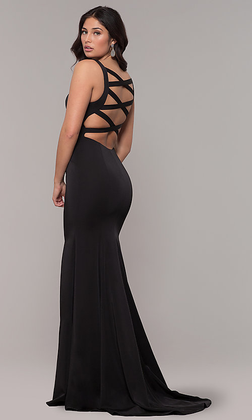 Image of open-caged-back long mermaid prom dress by Alyce. Style: AL-60280 Detail Image 4