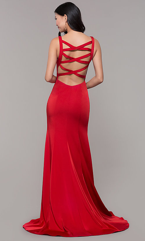 Image of open-caged-back long mermaid prom dress by Alyce. Style: AL-60280 Front Image