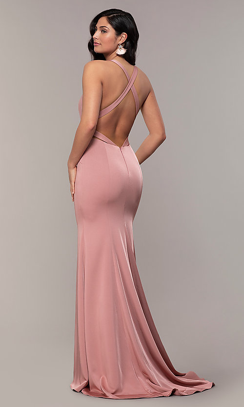 Image of long open-back designer prom dress by Alyce.  Style: AL-60281 Front Image